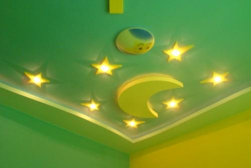 Декорации с гипсокартон, окачен таван в  детска стая.